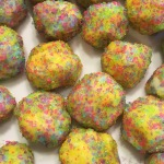 Brightly colored lemon-flavored truffles